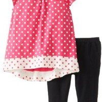 Nicole Miller Baby Girls' Knit Jersey Polka Dot Tunic with Ponte Jegging, Black, 24 Months
