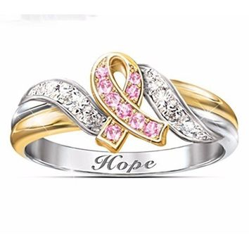 Exquisite Women's 925 Sterling Silver Two-Tone Pink Ribbon Hope Diamond Rings Breast Cancer Awareness Jewelry Gift for Girls Siz