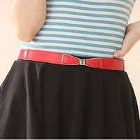 Korean Fahsion Plated Bowknot Elastic Belt Red-Wholesale Women Fashion From Icanfashion.com
