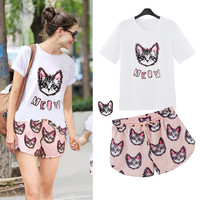 White and Light Pink Kitty Print T-Shirt and Shorts