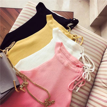 Beach Stylish Comfortable Hot Bralette Sexy Korean Women's Fashion Summer Knit Spaghetti Strap Slim Vest [9022366852]