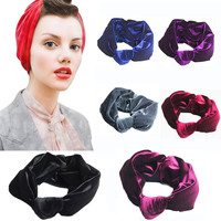 Velvet Knotted Headbands Women Scrunchy Twist Hair Bands Turban Bandana Bandage On Head Headpiece
