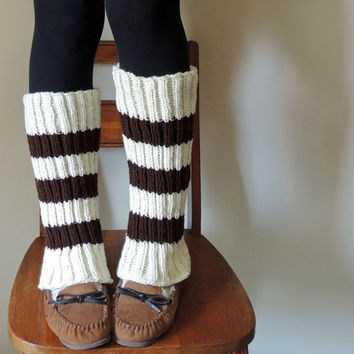 Brown & Cream Striped Hand Knit Leg Warmers