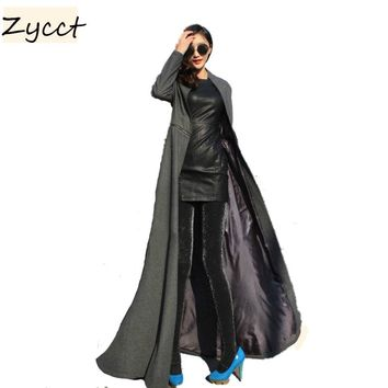 Women long Coats atutumn Winter Cool Style Full Length Long Woolen Trench Coat M-XXL E1229-10