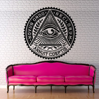 Wall decal art decor decals sticker amulet spell words eye illuminati protection circle branch triangle (m291)