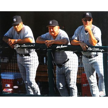 Joe Torre Don Zimmer and Mel Stottlemyre Triple Signed Dugout 16x20 Photo (MLB Auth)