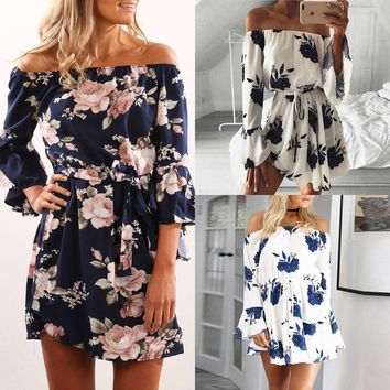 Summer Women Sexy Dresses Off Shoulder Bandage Party Mini Flower Casual Beach Short Mini Dress Women Clothing Summer