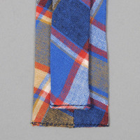 the hill side - n57 145   cotton   linen blend plaid tie blue   red