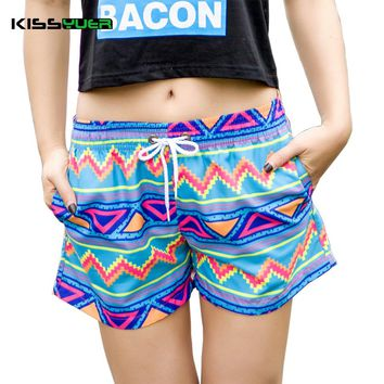 KISSyuer Lover Women Board Surf Shorts 2017 New Couple Beachwear Men's Gym Shorts Mujer Colorful Striped Bermuda Shorts KBS1036