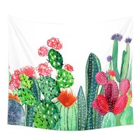 Cactus Watercolor Hanging Wall Tapestry