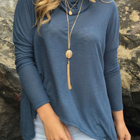 Blue Cowl Neck Back Split Long Sleeve Blouse