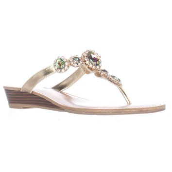 Dolce by Mojo Moxy Fairytale Jeweled Low Wedge Flip Flops - Gold