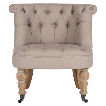 Jeanette Tufted Chair, Taupe, Wingbacks