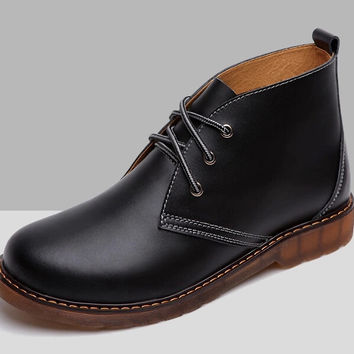 2014 Autumn High Quality British Style Italian Vintage Black Brown Genuine Leather Suede Lace Up Chukka Desert Boots For Men