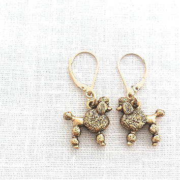 Poodle Earrings, Gold Dog, Cute Animal Jewelry for Dog Lovers, Friendship Jewelry Gift, Leverback, French Poodle, 596