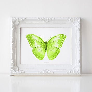 Butterfly art, Green decor PRINTABLE art print, Yellow Green Butterfly wall art, Butterfly Print, Wall decor, Green print, Bedroom decor