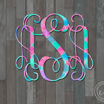 Custom Preppy Monogram Decal, Car, Monogram, Personalized Name, Yeti, RTIC, Tumbler Decal Decals, Initials Monogrammed