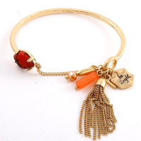 Be Bright Tessel Bead & Gemstone Charm Cuff Bracelet