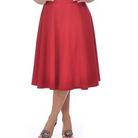 Steady Clothing Plus High Waist Pin-up Office Lady Red Swing Circle Midi Skirt