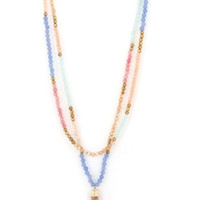 Beaded Double Strand Tassel Necklace - Pink, Mint or Multi