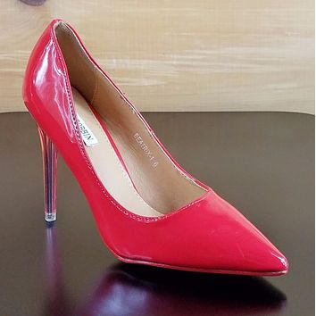 Cape Robbin Pointy Toe Pump With Lucite Clear Stiletto Heel Red Patent