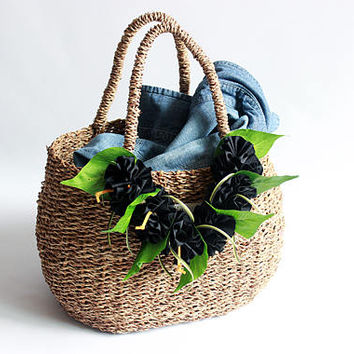 wicker basket ( black ribbon lei included )/Flower basket /Straw Bag/ Summer Bag/Straw Beach Bag/shopping bag/French Basket/picnic basket /