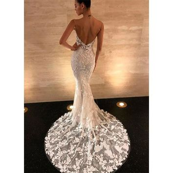 Ordifree 2019 Summer Women Lace Long Party Dress Sexy Backless Bodycon Maxi Dress Spaghetti Strap White Dress