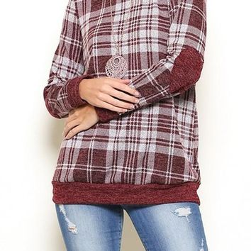 Plaid & Heart Elbow Patch Top