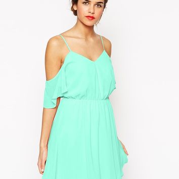 ASOS Cold Shoulder Flutter Sleeve Skater Dress