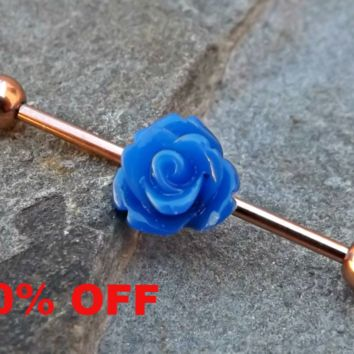 Blue Rose Gold Industrial Barbell 14ga Body Jewelry Ear Jewelry Double Piercing Black Friday Cyber Monday