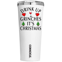 Corkcicle 24 oz Drink Up Grinches Its Christmas on White Tumbler