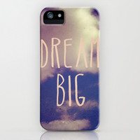 plastic phone case- nature photo- clouds- typography- dreams-pink and blue - Dream Big iphone Case