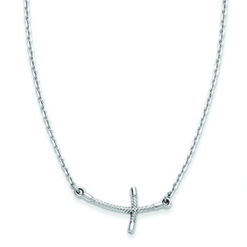14k White Gold Small Sideways Curved Twist Cross Necklace SF2087