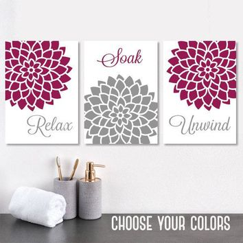 BATHROOM WALL Art, CANVAS or Prints, Gray Maroon Bathroom Pictures, Bathroom Decor, Relax Soak Unwind, Flower Bathroom Quotes Art, Set of 3
