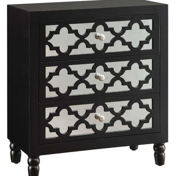 Crestview Newcastle 3 Drawer Black Chest - CVFZR714