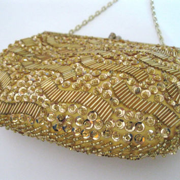 Gold Beaded Sequin Purse Vintage Bag Sequin Bling Wedding Party Accessory
