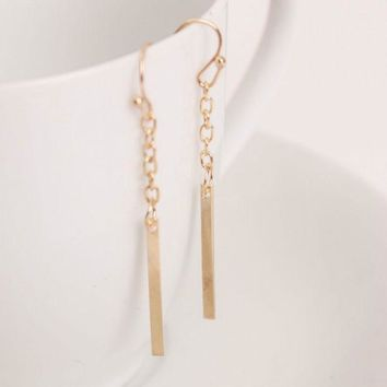 DKF4S 2016 European style Fashion Earrings Long Straight Chain Ear Hook Earrings fine jewelryTrade Punk for women