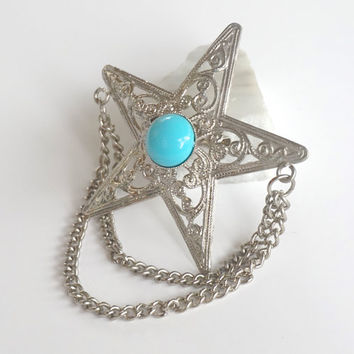 Star Brooch With Chains,Vintage Collar Pin,Silver Tone Filigree Lapel Pin with Chains & Turquoise Blue Cabochon,Chain Brooch,Costume Jewelry