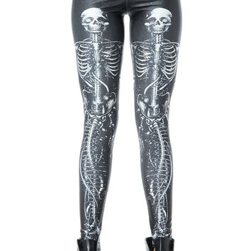 Bone Print Spandex Leggings