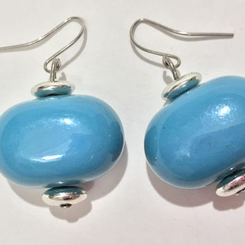 Vintage Turquoise and Silver Tone Beaded Hook Earrings / Dangling Blue and Silver Earrings / Rounded Large Oval Beads / Small Silver Beads