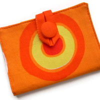 Fabric Wallet, Tea Holder, Sunny Orange Fabric by TwoBeesCreations