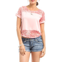 Curved Hem Laced Tee in Pink