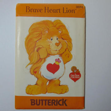 Butterick 3374 Brave Heart Lion Care Bear Cousin Sewing Craft Doll Pattern UNCUT