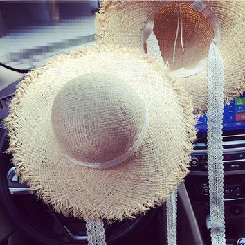 Ozyc summer hat lady Raffia straw hat with wide edge lady elegant lace belt beach hat Sombrero Mujer foldable travel cap