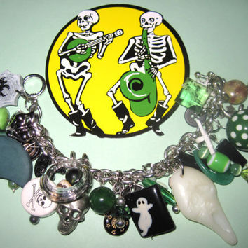 Halloween Charm Bracelet Jewelry Skulls Spooky Cat Ghosts Moon Green Jewelry Eclectic Vintage Style OOAK Statement Piece