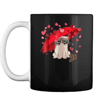 Grumpy Cat Raining Hearts Valentine's Day Graphic  Mug