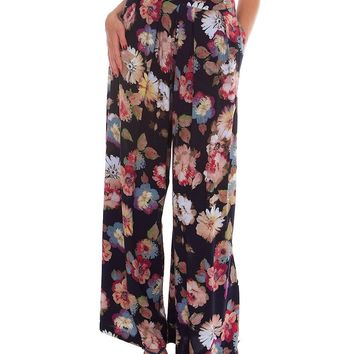 Flower Of Love Wide Leg Pants - Navy Print