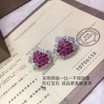 2018 New Bvlgari Red gemstone colourful brick and stone high-end fashion jewelry S925 Sterling Silver Earring cartilage hoop   stud drop