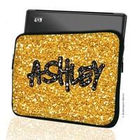 "Custom LAPTOP MACBOOK Sleeve gold black glitter Bling Monogram 11"" 12"" 13"" 14"" 15"" Personalized Monogram - Design Printed on Front AND Back"