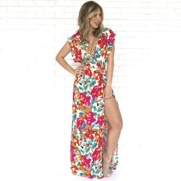 Here For Love Watercolor Print Maxi Dress